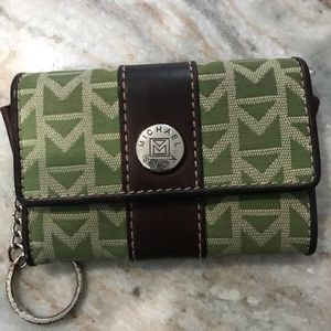 Green/ brown leather Michael Kors keychain wallet